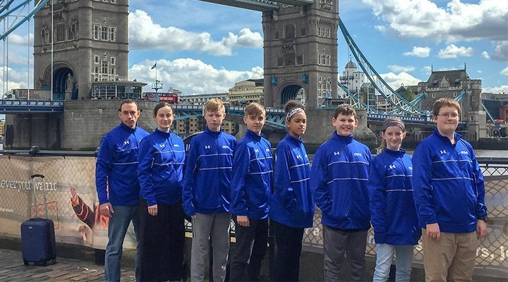 AmKor Karate of Coatesville students at Tower Bridge, London